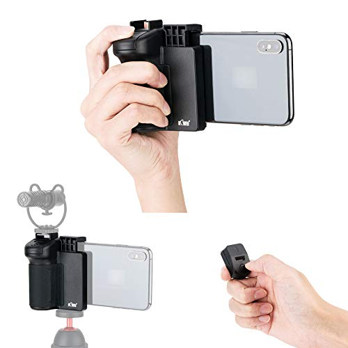 JJC 3 in 1 Phone Tripod Mount with Cold Shoe and DSLR-Like Hand Grip with Detachable Bluetooth Shutter Remote Control for iPhone Android Phone to Take Selfies, Group Photo and Stable One-Handed Video