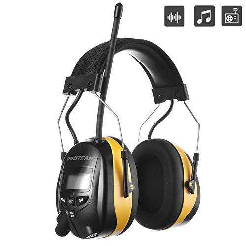 PROTEAR Gehörschutz mit Radio AM FM,MP3-kompatibel,für Industrie,BAU und Mähen Professionelle Lärmreduzierung,SNR 30dB(Gelb)