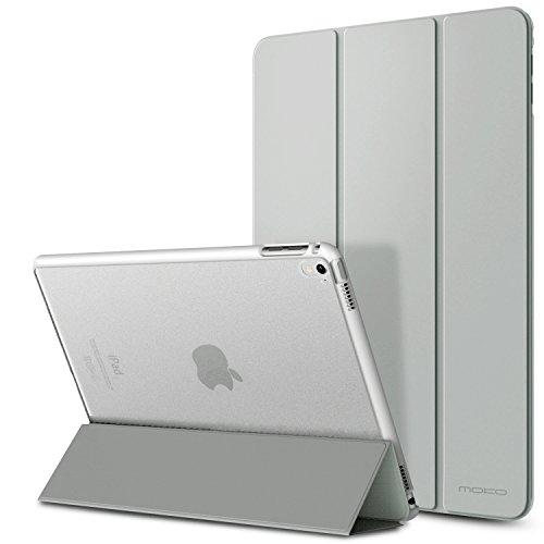 MoKo Hülle für iPad Pro 9.7 2016 - PU Leder Tasche Schutzhülle Schale Smart Case mit Translucent Rücken Deckel, mit Auto Schlaf / Wach Funktion und Stanfunktion für Apple iPad Pro 9.7 Zoll Tablet, Silber