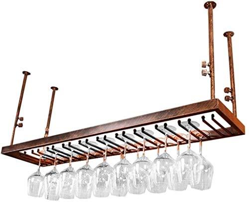 FBBSZSD Estante de Vino Estante de Pared Estante de Techo de Hierro de Metal Almacenamiento Estantes de Vino Colgantes Soporte para Botellas y Vasos de Vino Marco Soporte para Copas de Vin