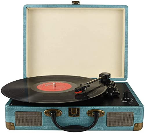 Vinyl Record Player Turntable with Built-in Bluetooth Receiver & 2 Stereo Speakers, 3 Speed 3 Size All-in-one Suitcase Record Player for Entertainment and Home Decoration