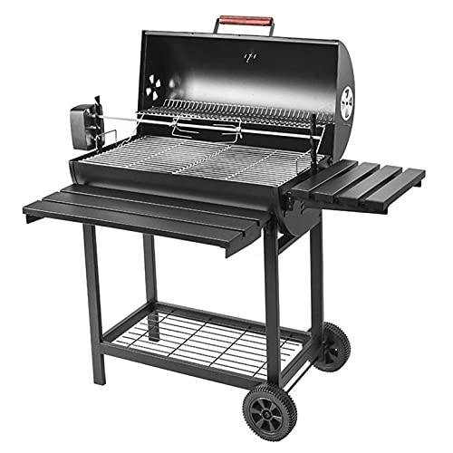 Charcoal Grill Portable Large Outdoor BBQ Grill with Foldable Shelf, Thermometer, Electricity Baking Fork, 304 Stainless Steel Grilled Net, for Parties, Gardens, Courtyards, for 1-15 People, Black