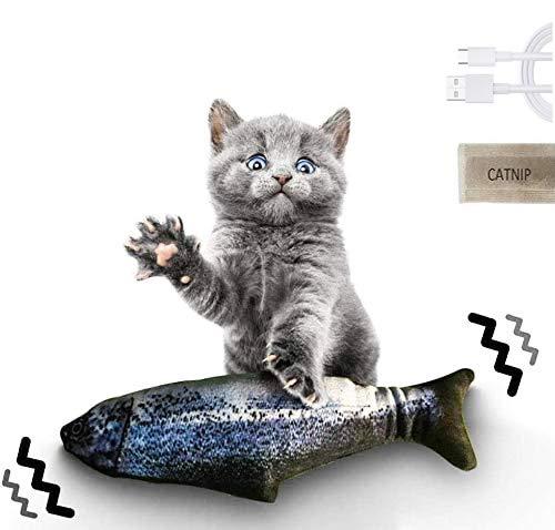 Qsnn Katzenspielzeug Fisch Elektrisch, Tanzender Fisch USB Katze Spielzeug mit Katzenminze für Katze Kätzchen, Interaktives katzenspielzeug Zappelnder Fisch zu Spielen,Beißen,Kauen und Treten (Lachs)