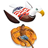 Swimline Inflatable Giant American Bald Eagle Float & Giant Baseball Glove Float