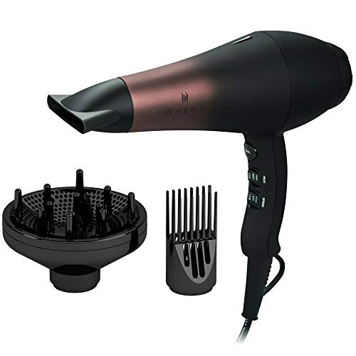Wazor Professional Ionic Hair Dryer with Diffuser, Infrared Salon Grade Blow Dryer with Comb Attachment, 1875W Powerful Quiet Hair Blow Dryer, Tourmaline Ceramic Hairdryer with Nozzle, Black