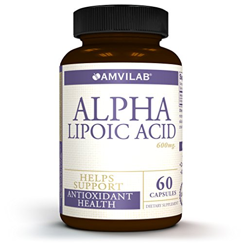 AMVILAB Alpha Lipoic Acid 600mg Supports Healthy Blood Sugar, Weight Management, Nerve Health, Improves Tingling Feet and Regenerate Antioxidants. Pure Non GMO 60 Capsules 2 Month Supply