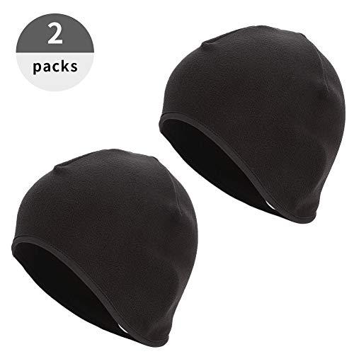 Xinstroe 2er Packung Skull Cap Thermo-Radmütze mit Ohrenschutz Winddicht Elastischer Helm Innenschuh für Männer Frauen Laufen, Skifahren Outdoor Sport(Frau)
