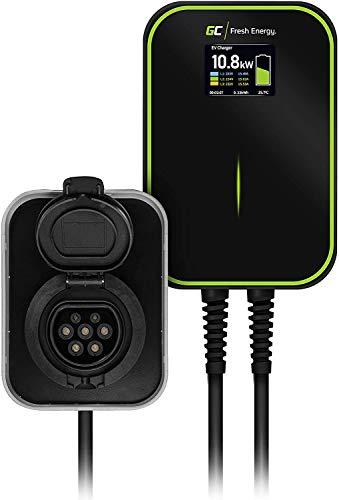 Green Cell® GC EV PowerBox Ladegerät Wallbox für EV PHEV,Laden mit 22kW / 11kW / 7,2kW,Steckdose Typ 2,LCD Bildschrim,IP66,Kompatibel mit Tesla Model 3 / S/X, ZOE, i3, ID.3, I-Pace, Leaf