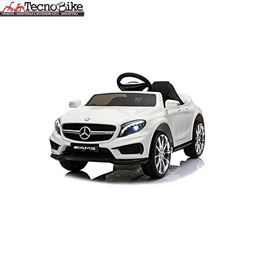 Tecnobike Shop Macchina Elettrica per Bambini 12V Mercedes Benz GLA 45 AMG 12V Porte Apribili USB MP3 (Bianco)