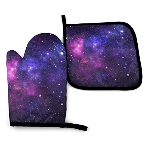 BLUBLU Galaxy Oven Mitts and Pot Holders Set Heat Resistant Oven Gloves with Non-Slip Surface for Baking Cooking Grilling BBQ