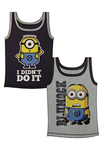 Doppelpack Minions Trägershirt, Unterhemden, Sommershirt, Sportshirt für Jungen und Mädchen (110/116 Jungen)