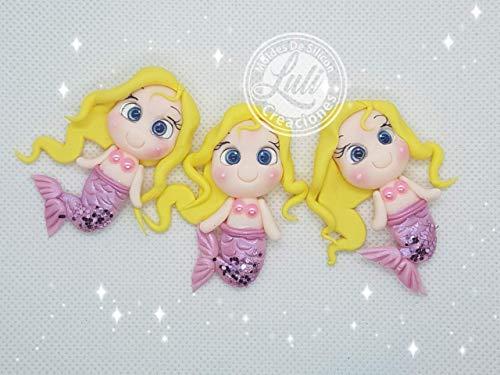 Sirenas Princesas 3 Apliques, Miniaturas para lazos y adornos en porcelana fria ⭐