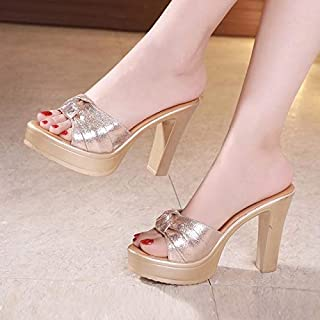 Super high heels slippers summer women sandals platform shoes solid slides creepers thick heels sexy flip flops female Elegant beautiful slippers (Color : Gold, Shoe Size : 6.5)