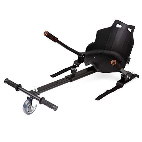 Z ZELUS Silla de Hoverboard Ajustable Asiento para Patinetes Eléctricos de 6.5 8 10 Pulgadas HoverKart Silla de Equilibrio Automático para Adultos y Niños (Negro)