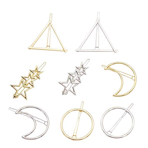 8PCS Alloy Hairpins Moon Triangle Round Pentagram Hair Clamps Hair Clip Metal Barrettes for Women Girls (Sliver and Golden for Each 4pcs)