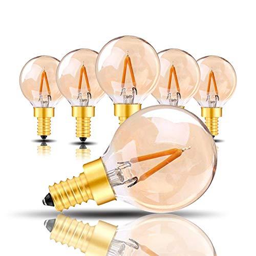 Bombillas de repuesto para iluminación al aire libre, G40 Mini Globe Led Lights E14 1W Bombilla LED Ámbar Cristal Vintage Edison Estilo 10W Reemplazo Equivalente Ultra Cálido Blanco 2200K 6 paquetes