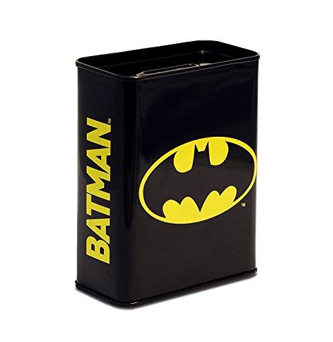 Unbekannt Klang und Kleid Spardose mit Batman Motiv, Metall, schwarz, 9 x 4.5 x 11.5 cm