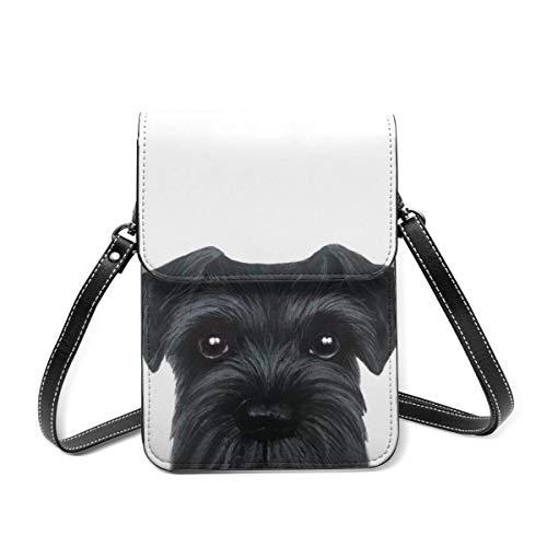 Kleine Umhängetasche, schwarzer Schnauzer-Hund, Crossbody-Tasche, Handy-Geldbörse, leichte Crossbody-Tasche für Frauen und Mädchen
