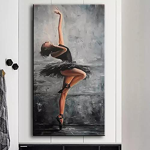UHYGT Anmutige Figur Poster schwarz weiß Wandkunst Ballerina Leinwand Malerei Mode Drucke Wohnzimmer modernes Dekor Wandbilder 50x100cmx1 Kein Rahmen Wall