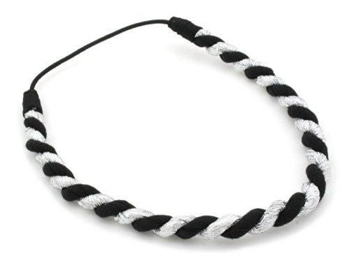 Silver Thread & Black Chunky Twist Head Band Hair Accessories by Zest