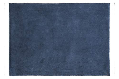 Eurofirany Alfombra Decorativa de Pelo sintético Suave, Color Azul Marino, 50 x 70 cm