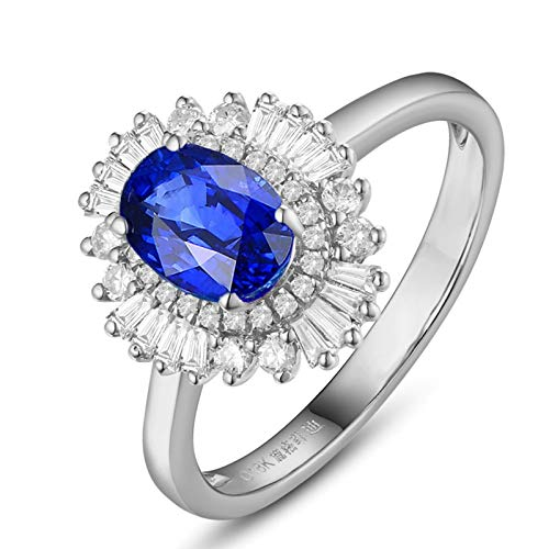 AmDxD oro blanco 18 ct oval-shape Blue White Sapphire