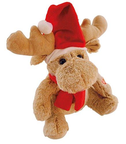 Bieco 19999002 Plüsch Elch mit Weihnachstmannmütze und Schal, singt I Wish You a Merry Christmas und Tanzt, mit leuchtenden Bäckchen, ca. 28 cm, Beige