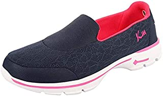 KazarMax Women's Navy & Pink Slipon's Walking Sneakers (Washable with Quick Dry Fabric)