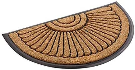 Kempf Half Round Inlaid Sun Ray Doormat Outdoor Entrance Mat 24 X 39 Inch Kitchen Dining