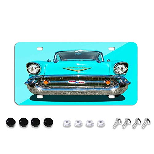 57 Chevy Face License Plate,Decorative Car Front License Plate,Vanity Tag,Metal Car Plate,Aluminum Novelty License Plate for Men/Women/Boy/Girls Car,6 X 12 Inch