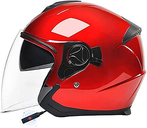 ZLYJ Motocicleta Retro 3/4 Medio Casco Bluetooth Motocicleta Casco Abierto con Visera Doble Ciclomotor Bobber Chopper Jet Pilot Crash Aprobado por ECE F,54-59cm