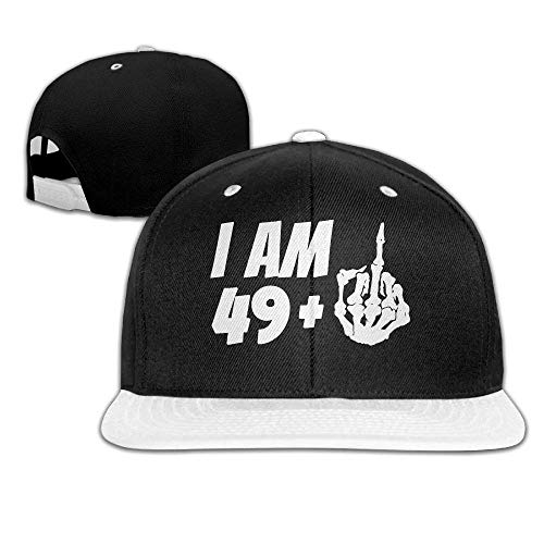 I Am 49+1 50th Birthday Men's Adjustable Snapback Hip Hop Dad Hat Cap Flat Brim White Baseball Cap for Men Women