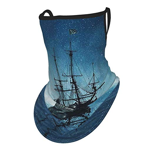 Ocean A Ghost Pirate Ship On Dark Sea With Starry Night Sky And Water Reflection Dark Blue White Greyear Hangers Uv Protection Neck Gaiter Scarf, Outdoor Headband For Fishing Cycling Hiking