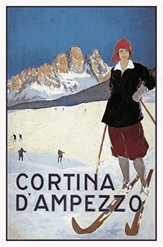 Cartel de Chapa genérico, 20 x 30 cm, Cartel de Viaje Cortina D ́ Ampezzo Retro de Metal