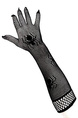 PartyXplosion® Damen Schwarze Netzhandschuhe mit Spinnen Spinnennetz Look Spinnenmuster Optik Handschuhe Armstulpen Ellenbogen lang (12081)