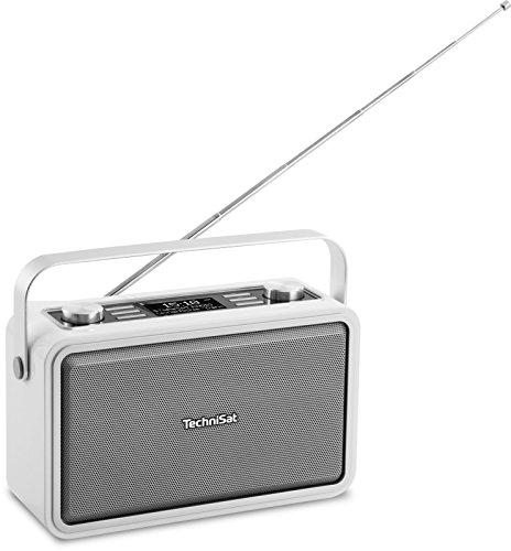 TechniSat Digitradio 225 DAB Radio, Portables DAB+/UKW Radio (mit Metall-Tragegriff und integriertem Akku, Sleeptimer, Wecker, Kopfhöreranschluss, Bluetooth, NFC) weiß