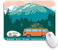 VAMIX マウスパッド 個性的 おしゃれ 柔軟 かわいい ゴム製裏面 ゲーミングマウスパッド PC ノートパソコン オフィス用 デスクマット 滑り止め 耐久性が良い おもしろいパターン (緑の国立レトロ旅行山トレーラー抽象的な公園風景ドライブ夏のキャンプ家族の空)