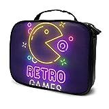 Kosmetiktaschen für Frauen Reisen, Retro- Spiel-Leuchtreklame, helles Schild, helle Fahne. Spiel Logo, Emblem Federmäppchen