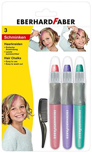 Eberhard Faber 579202 - Haarkreide Pastell, Set mit 3 Farben und Haarkamm, einfache Anwendung, leicht abwaschbar, für trendige Frisuren und neue Haarfarben