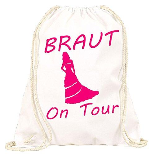Junggesellinnenabschied Braut on Tour JGA | Handtasche | Turnbeutel | Rucksack | Hipster Turn-Beutel |Rucksack-Beutel | Gym-Bag | Tasche | Sport-Beutel | Jute (Weiss)