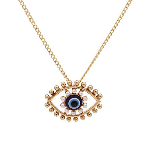 N/A Hiphop Turkey Blue Eyes Pearl Alloy Pendent Necklace For Men Women Medusa Eye Gold Chain Evil Eyes Collar Necklace Jewelry