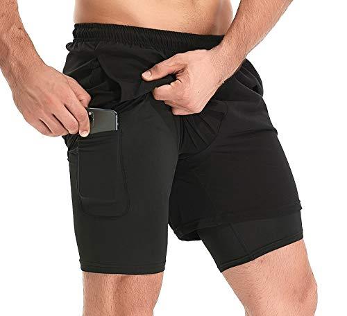 TELALEO - Pantalones cortos 2 en 1 para correr, gimnasio, entrenamiento, atlético, ropa interior de compresión con bolsillo con cremallera, Large, negro 02