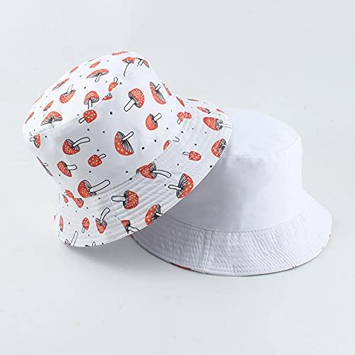 YDXC Champiñón Estampado Reversible Sombrero de Cubo para Hombres y Mujeres Hip Hop Pescador Gorra Streetwear Beach -White_Mushroom