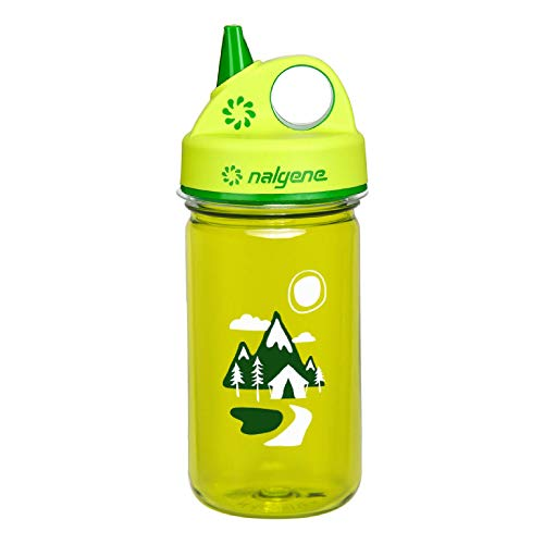 Nalgene Kids Grip-N-Gulp Water Bottles, Leak Proof Sippy Cup, Durable, BPA and BPS Free, Dishwasher Safe, Reusable and Sustainable, 12 Ounces , Green Trails