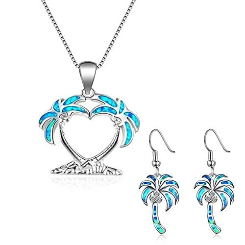 SWAOOS Conjunto de Accesorios de Estilo de árbol de Coco a la Moda para Mujer, Collar con Colgante de ópalo de Fuego Azul de imitación, Pendientes, joyería de Boda para Mujer