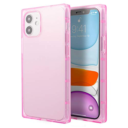 Insten Square Case Compatible with iPhone 12 Mini Case 5.4 Inch, Soft TPU Protective Cases with Reinforced Corners, Shock Absorption, Crystal Clear Pink Slim Cover for Women Girls