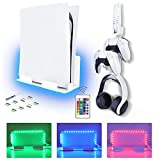 NexiGo PS5 Wall Mount Set with RGB LED Light - Wall Bracket for Playstation 5 Console (Disc & Digital), Controllers, Headphone and Media Remote - Wall Hanger for PS5 Console, PS5 Accessories
