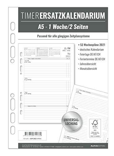Timer Ersatzkalendarium A5 2021 - Bürokalender - Buchkalender A5 (15x21 cm) - Universallochung - 1 Woche 2 Seiten - 128 Seiten - Alpha Edition