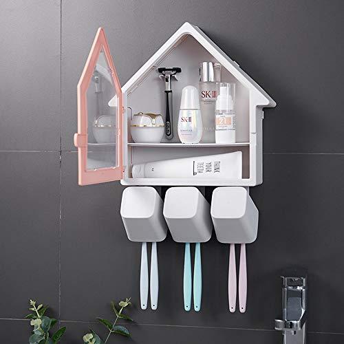 YazNdom tandenborstelhouder in de vorm van een huis, wandmontage, geen spijker, tandenborstelhouder met 3 bekers voor de badkamer
