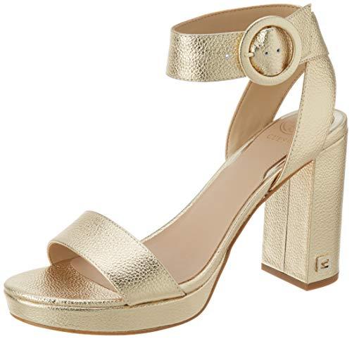 Guess Damen Brendy/Sandalo Leathe Sandale mit Absatz, Gold, 37 EU